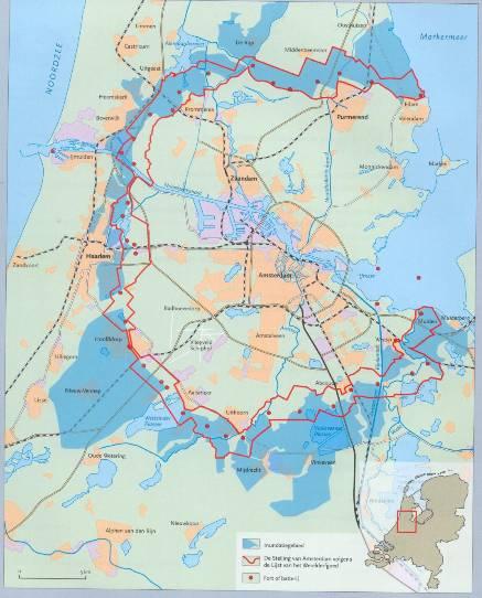Kaart van de Stelling van Amsterdam